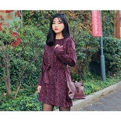 HOTPING - Round-Neck Pattern Dress With Sash