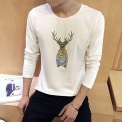 Alvicio - Deer Print Long-Sleeve T-Shirt