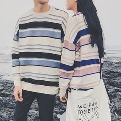 JUN.LEE - Couple Matching Striped Sweater