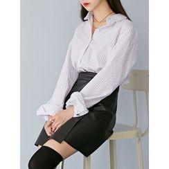 FROMBEGINNING - Long-Sleeve Pinstriped Shirt