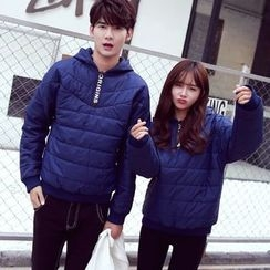 Evolu Fashion - Couple Matching Lettering Padded Hoodie