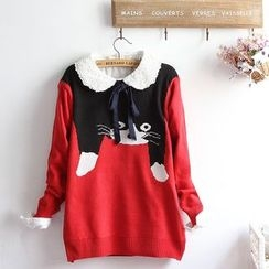 akigogo - Cat Print Sweater
