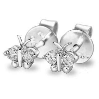 MaBelle - 18K White Gold Butterfly Diamond Accent Stud Earrings (0.11 cttw)