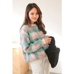 PPGIRL - Round-Neck Checked Pullover