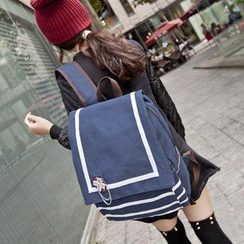 VIVA - Striped Flap Canvas Backpack