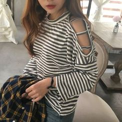 CosmoCorner - Loose-Fit Off-Shoulder Long-Sleeve Striped T-Shirt