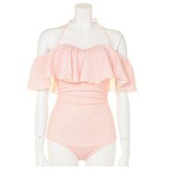 Roseate - Plaid Ruffled Halter Swimsuit