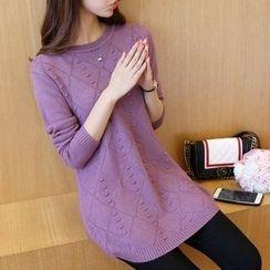 lilygirl - Diamond Pattern Long Sweater