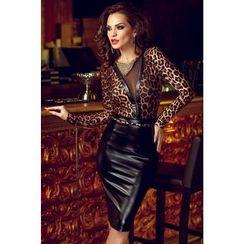 Gembeads - Leopard Print Panel Faux Leather Sheath Dress