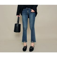 HOTPING - Frey-Hem Fleece-Lined Jeans