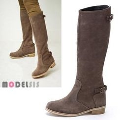 MODELSIS - Genuine Leather Buckled Long Boots