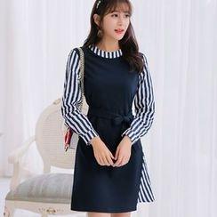 YUMU - Striped Panel Long Sleeve Dress