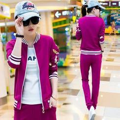 伊之戀 - 套裝: 印花拉鏈外套 + 運動褲 + 印字T恤