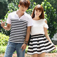 Igsoo - Couple Striped Polo Shirt / A-Line Dress