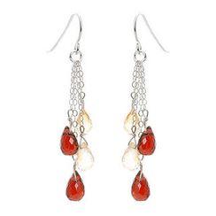 Keleo - Silver citrine, garnet earrings