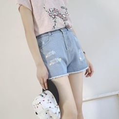 Ranche - Ripped Fray Hem Denim Shorts