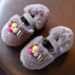 绿豆蛙童鞋 - 童装毛毛拼接平跟鞋