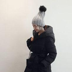 NANING9 - Faux-Fur Pompom Knit Beanie