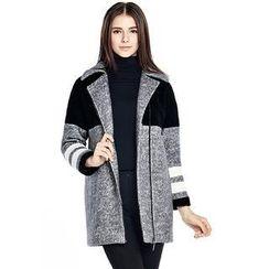 O.SA - Color-Block Wool Blend Coat