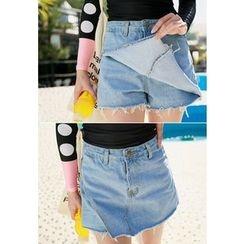 REDOPIN - Denim Wrapped Shorts