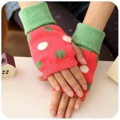 Fancy Mansion - Dotted Fingerless Mittens