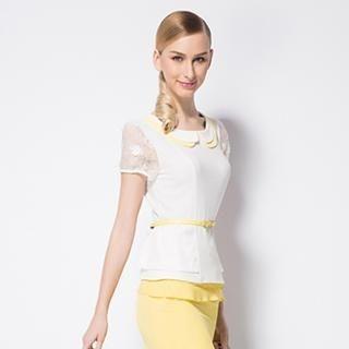 O.SA - Lace-Sleeve Peplum Blouse
