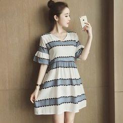 Munai - Short-Sleeve Striped Dress