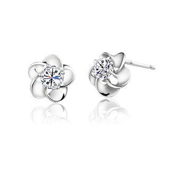 BELEC - White Gold Plated 925 Sterling Silver with White Cubic Zirconia Plum Flower Stud Earrings