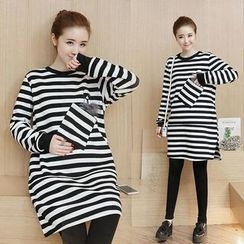 Ceres - Maternity Long-Sleeve Striped Dress