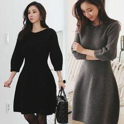 Seoul Fashion - 3/4-Sleeve A-Line Wool Blend Dress