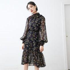 HORG - Floral Print Long Sleeve Chiffon Dress