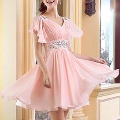 MSSBridal - 短袖飾寶石 A 字禮服裙