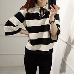 Glen Glam - Stripe 3/4 Sleeve T-Shirt