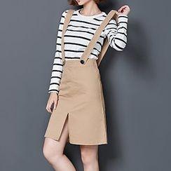 Donnae - Set: Striped Crewneck T-Shirt + High Waist Jumper Skirt