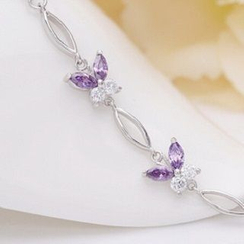 Zundiao - Sterling Silver Rhinestone Butterfly Bracelet