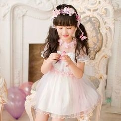 Candy Rain - Kids Short-Sleeve Sheer Panel Dress