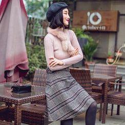 Dimosqisi - 羊毛混纺格纹A字短裙