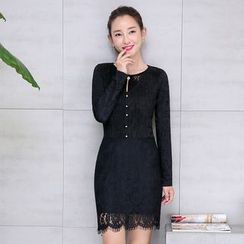 AiSun - Tasseled Long Sleeve Lace Dress