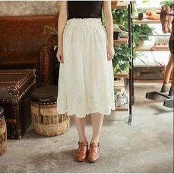 Moricode - Embroidered Midi Skirt