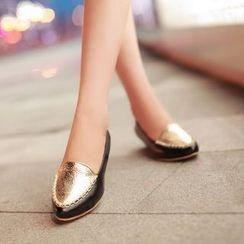 YOUIN - 拼接平跟鞋