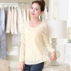 Flower Creek - Chiffon Layered Lace Top