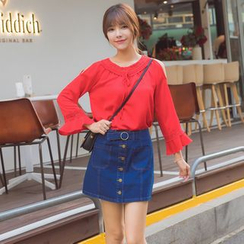 AiLiTi - Buttoned A-Line Denim Skirt
