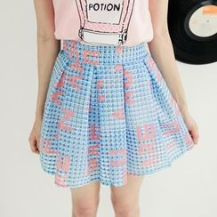 Tokyo Fashion - Lettering Check Pleated A-Line Skirt