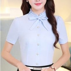 Eferu - Bow Frill Collar Short-Sleeve Chiffon Top