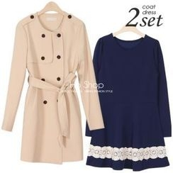 Ho Shop - Set: Collarless Trench Coat + Long-Sleeve Dress (2 Designs)