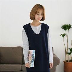 clicknme - Round-Neck Stripe Cotton T-Shirt
