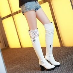 Pastel Pairs - Chunky Heel Lace Panel Over-the-Knee Boots