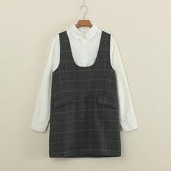 Mushi - Plaid Jumper Skirt