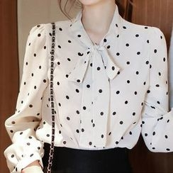 OTTI - Tie Neck Dotted Blouse