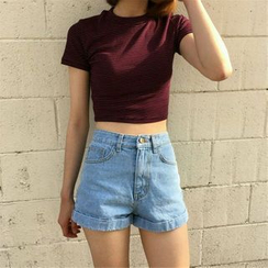 MISS YOYO - High Waist Denim Shorts